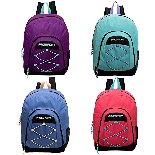 17' Classic Bulk Backpacks in 4 Assorted Colors with Mesh Water Bottle Pocket - Wholesale Case of 24 Bookbags