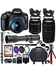 Canon EOS Rebel T7 DSLR Camera with 18-55mm is II Lens Bundle + Canon EF 75-300mm III Lens & 420-800mm Preset Telephoto Zoom Lens + 32GB Memory + Spider Tripod + Commander Optics Professional Bundle