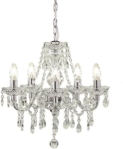 amazon co uk chandelierstuscany 5 light ceiling chandelier acrylic droplets clear