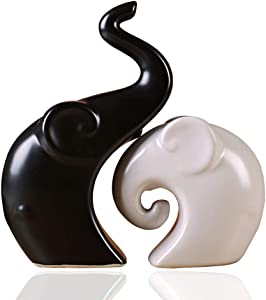 TDRFORCE Ceramic Figurines Porcelain Sculptures Statues of Elephant,Ceramic Decoration Animals Set Crafts Ornaments Home Decor (Black White)