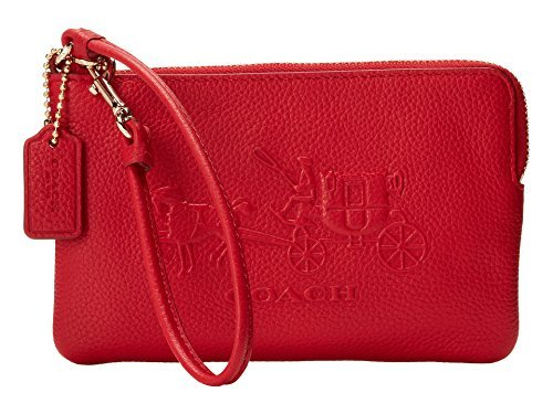 Coach 52500 Embossed Horse and Carriage Small L-zip Wristlet in Red by Coach