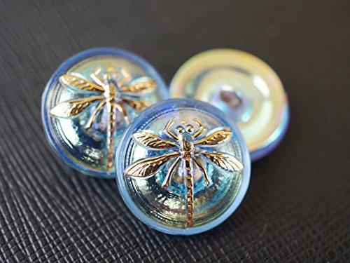 Hand Made Art Czech Glass Button Shapphire AB - Gold Dragonfly, Size 8, 18mm, - Glass Czech Gold Button