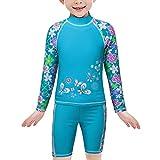 TFJH Girls Swimsuit UPF 50+ UV Two Piece Rainbow Printed Blue Flower 104/110