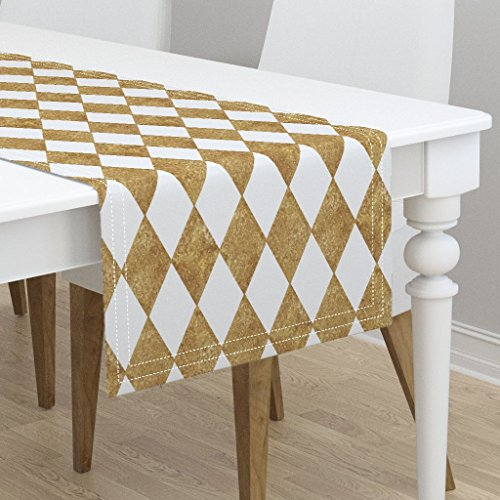 Table Runner - Harlequin Diamond Geometric Gilt Gold Glitter White by Peacoquettedesigns - Cotton Sateen Table Runner 16 x - Glitter Harlequin