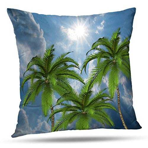 (soopat Soft Soild Decorative Square Throw Pillow Covers Set Cushion Case throw pillow palm tree for Sofa Bedroom Car 18 x 18 Inch 45 x 45 Cm)