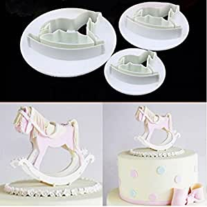 [Free Shipping] 3Pcs Hobbyhorse Fondant Cake Sugarcraft Cookie Cutter Mold // 3pcs pastel de fondant hobbyhorse molde cortador de galletas sugarcraft