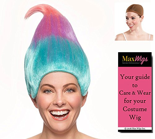 Trolls Satin Color Multi-Color - Enigma Wigs Chenille Bright Colorful Trollz Dolls Multicolor Bundle with Wig Cap, MaxWigs Costume Wig Care Guide]()