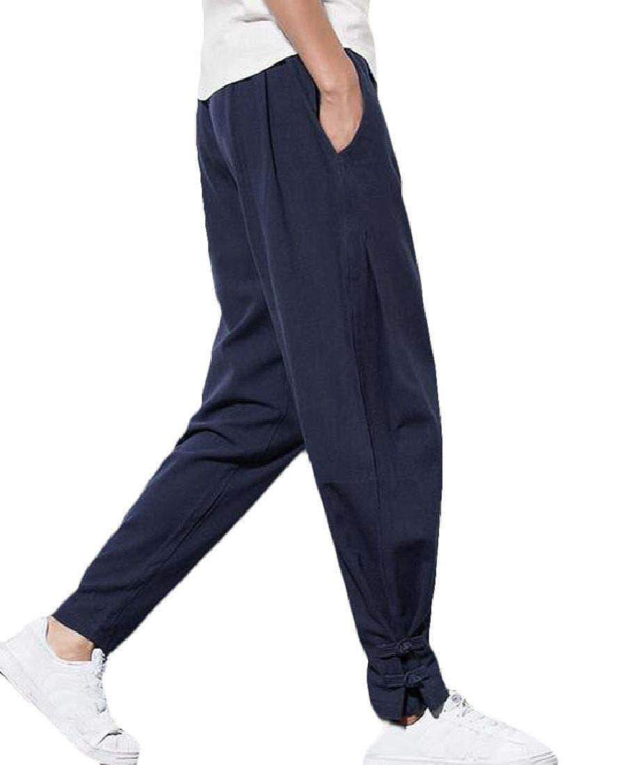 CRYYU Men Pockets Cotton Linen Chinese Style Solid Big /& Tall Harem Jogger Pants