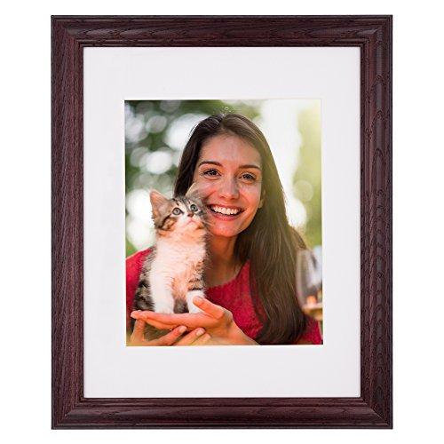 - New 11x14 Picture Frame - Dark Cherry Ash Hardwood w/Mat for Family & Friends Photos, 1-1/4 Inch Wide Molding - Hand Made in USA by Northern