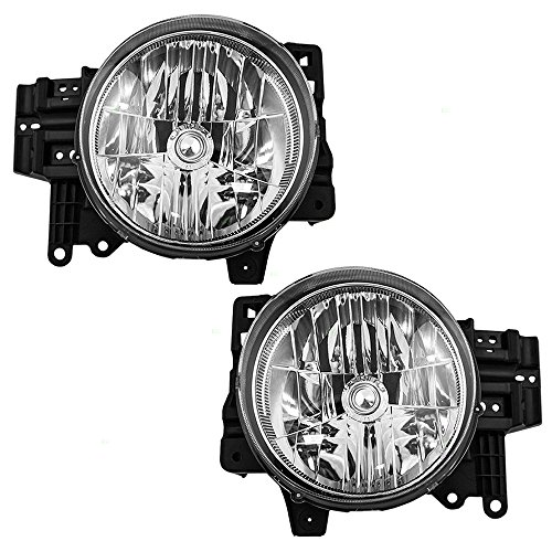 Headlights Headlamps Driver and Passenger Replacements for 07-14 Toyota FJ Cruiser SUV 81106-35445 81105-35465 (Toyota Fj Cruiser Aftermarket)