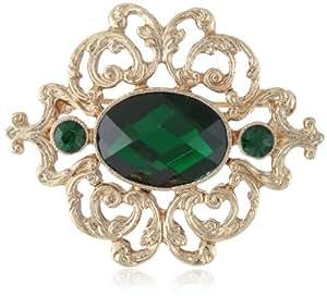 "1928 Jewelry ""Classic Pins"" Gold-Tone Emerald Green Pin"