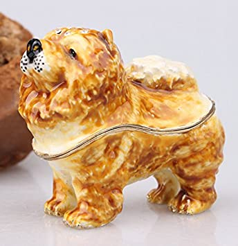 znewlook Chow Hand Painted Dog Figurine Statue Chow Pewter Bejeweled Hinged Trinket Dog Theme Gadget