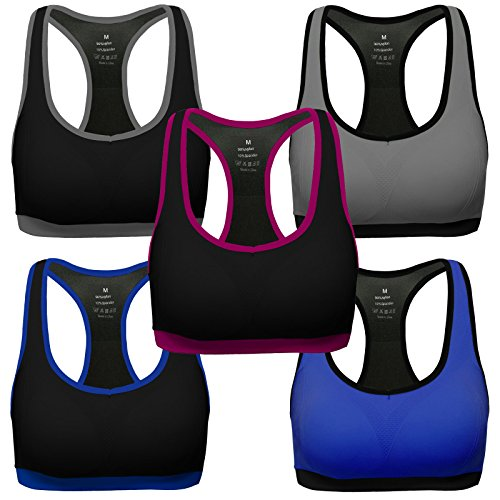 Mirity Women Racerback Sports Bras - Medium Impact Workout Gym Activewear Bra Color Pack of 5 Size XL (Reversible Bras Womens)