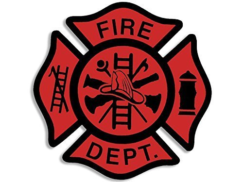 - GHaynes Distributing RED Fire Dept Maltese Cross Shaped Sticker Decal (fire firefighter) Size: 3 x 5 inch