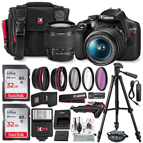 Canon T7 EOS Rebel DSLR Camera with EF-S 18-55mm f/3.5-5.6 is II Lens W/Telephoto & Wideangle Lens 3 Pc. Filter Kit + Tripod + Flash & 2 X 32GB SD Card and Basic Accessory Kit (Best Small Canon Camera)