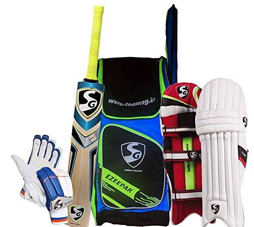 SG Batting Cricket Kit Combo (Ezeepak Kitbag + Nexus Plus Kashmir Willow bat, Full Size + Club Legguard + Ecolite Batting Gloves) - Men's (Full Size) by SG