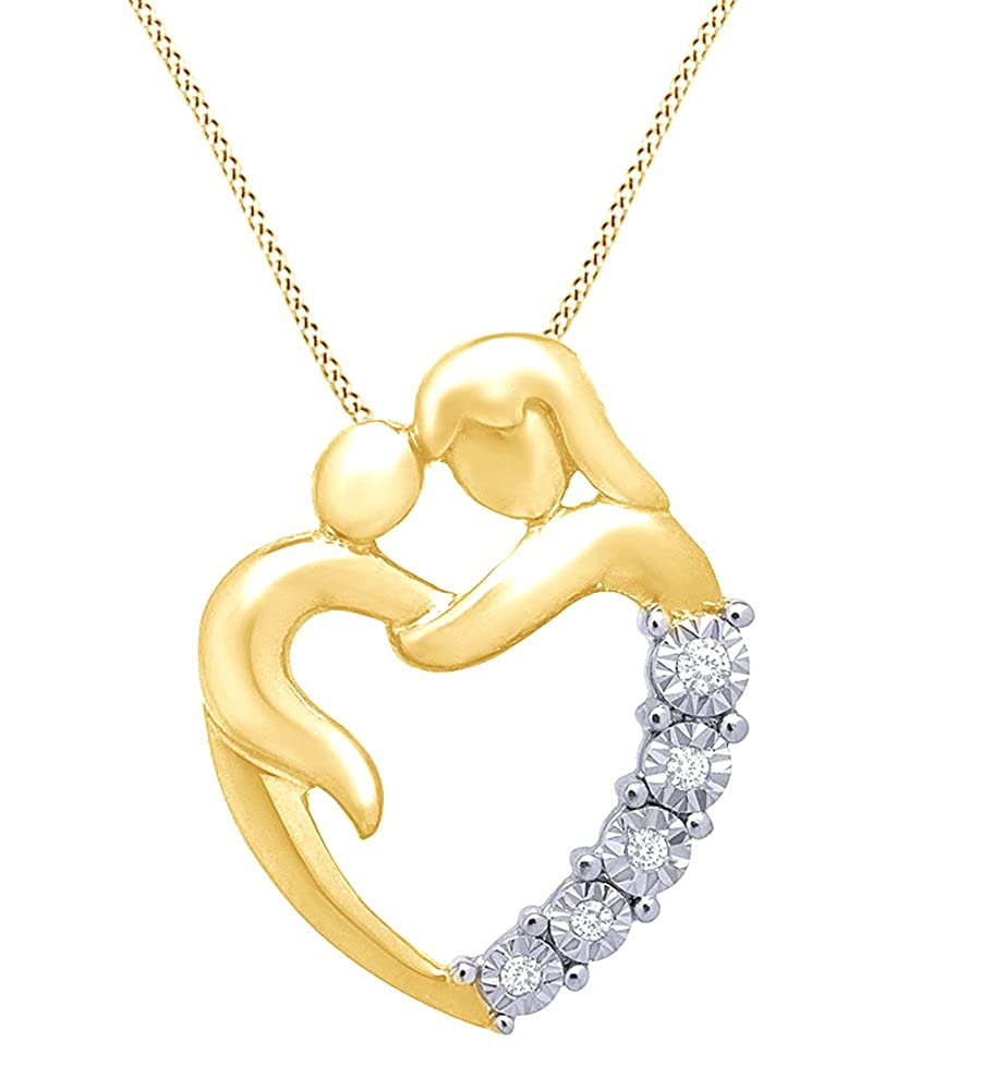 AFFY White Natural Diamond Mom /& Baby Heart Pendant Necklace in 14K Gold Over Sterling Silver 0.1 Cttw