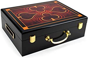 Brybelly Wooden Poker Chip Case, Suit Symbol Design, High Gloss, Holds 500 Chips