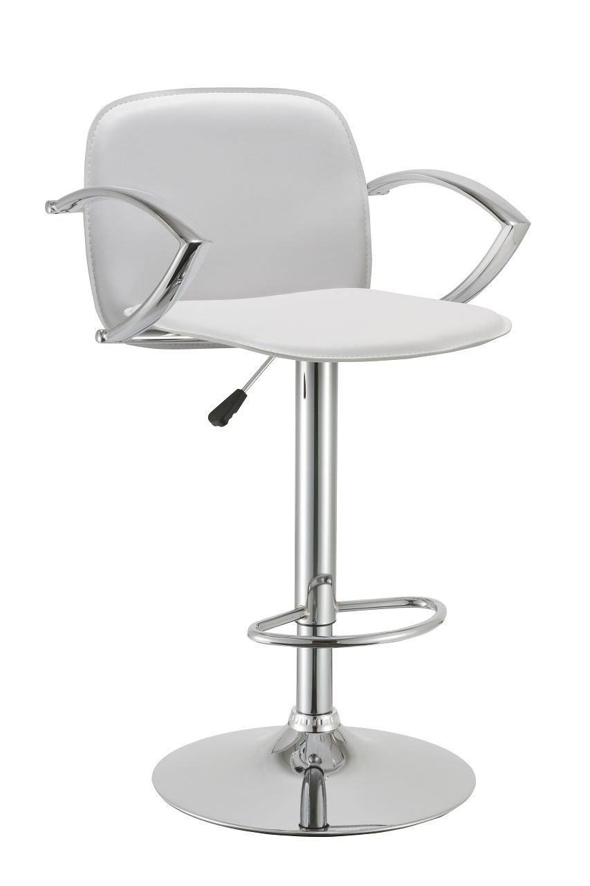 Duhome Contemporary Synthetic Leather Hydraulic Adjustable Bar Stool Kitchen Counter Island Pub Chair White