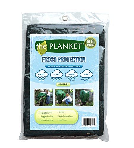 the Planket Frost Protection Plant Cover, 10 ft Round. Has Cinch Cord