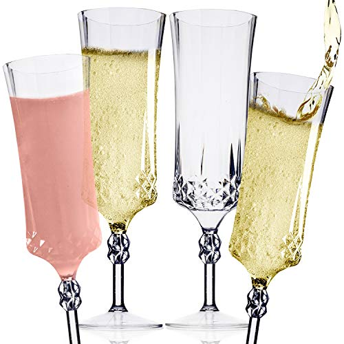 Clear Plastic Champagne Flute Set (12) ? Classic Diamond Pattern Disposable Champagne Flutes, Cocktail Glasses & Mimosa Glasses ? Champagne Glasses Set for Wedding, Engagement Party & Birthday Party