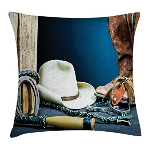 (Ambesonne Western Decor Throw Pillow Cushion Cover, Equestrian Backdrop with Antique Horseshoe Hat Cowboy Texas Style, Decorative Square Accent Pillow Case, 24 X 24 Inches, Blue Brown and Beige)