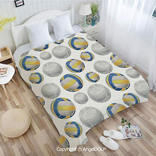 AngelDOU Warm air Conditioner Flannel Blanket W72 xL78 Vivid Volley Balls Sports Icons Activity Hobby Team Game Athletics Decorative for Bed Cover Sofa car use.