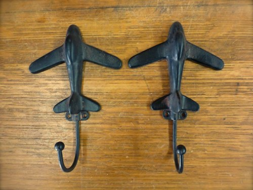 (OutletBestSelling Set 2 Black Airplane Metal Wall Hooks Antique-Style Kid Teen Coat hat Hardware)