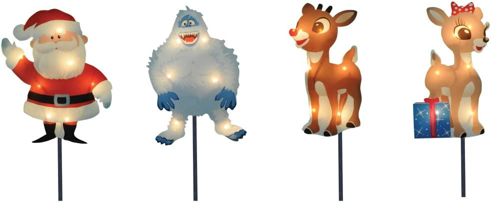 Product Works 8-Inch Pre-Lit Rudolph the Red-Nosed Reindeer Pre-Lit Christmas Pathway Markers (Set of 4) (30539)