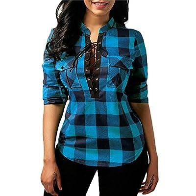 HGWXX7 Women Fashion Long Sleeve Plaid Cross Bandage Pocket T-Shirt Tops Blouse