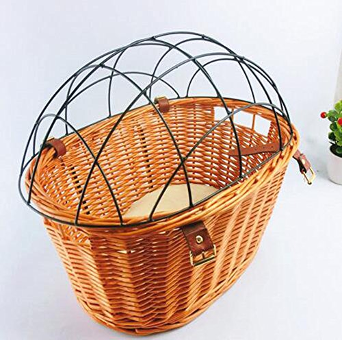 Lovely Baby Pet Bike Front Breathable Wicker Basket for Dogs and Cats LY-BikeCarrier-002-front