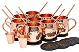 Pure Copper Moscow Mule Mugs (Set of 8) by Mule Science with BONUS: Highest Quality Cocktail Copper 8 Straws, 2 Shot glasses and 8 coasters!