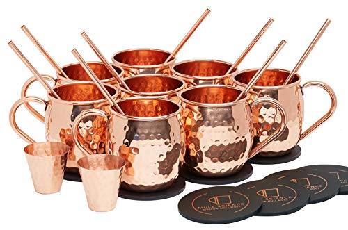 Pure Copper Moscow Mule Mugs (Set of 8) by Mule Science with BONUS: Highest Quality Cocktail Copper 8 Straws, 2 Shot glasses and 8 coasters! by Advanced Mixology (Image #7)