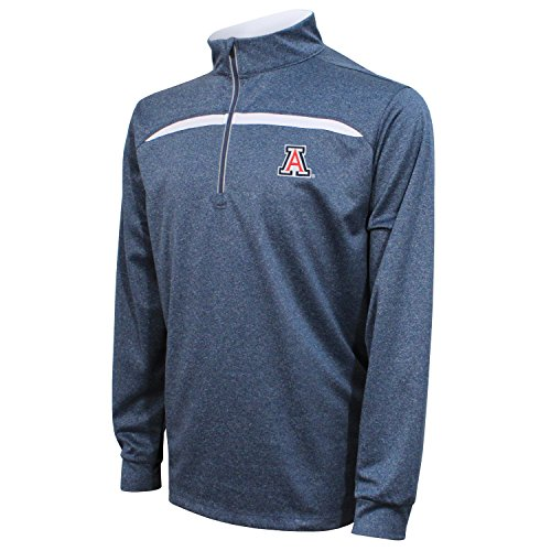 Crable Adult NCAA Men's Quarter Zip with Contrast Panel, Navy/White, Large ()