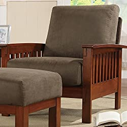 Metro Shop TRIBECCA HOME Hills Mission-Style Oak and Olive Microfiber Accent Chair-Hills Collection Chair