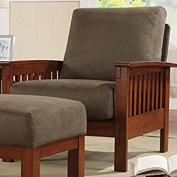this item metro shop tribecca home hills oak and olive microfiber accent chairhills collection chair - Mission Style Recliner