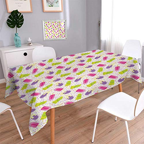 Anmaseven Ice Cream Rectangle Customized Tablecloth Popsicles in Cartoon Style Scattered on Polka Dot Background Yummy Fresh Frosting Stain Resistant Wrinkle Tablecloth Multicolor Size: W70 x L104