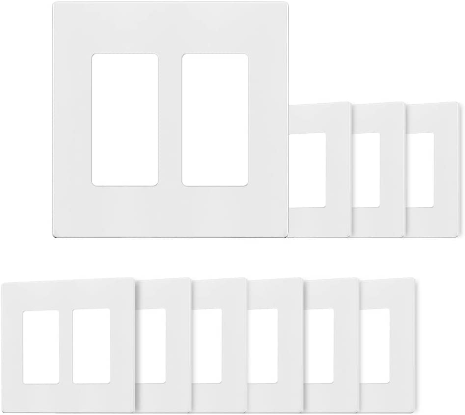 2-Gang Decora Wall Plates, Standard Size 2-Gang, Unbreakable Polycarbonate, Screwless Switch Plate, Outlet Cover, Single Toggle Switch (2-Gang Decora Wall Plates 10pack)