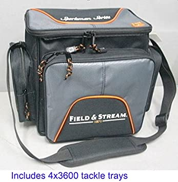 Field Stream Sportsman Soft Sided Fishing Lures Tackle Bag w 4-3600 StowAway Boxes Trays