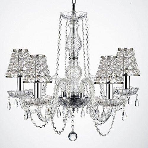 Empress Crystal tm Wrought Iron Chandelier Chandeliers Lighting H25 W24 with Crystal Shades and Chrome Sleeves