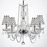 Empress Crystal ™ Wrought Iron Chandelier Chandeliers Lighting H25″ W24″ with Crystal shades and Chrome Sleeves! For Sale