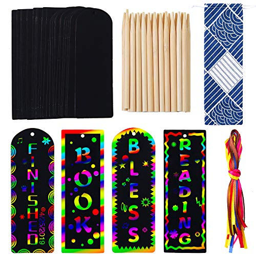(Elcoho 24 Set 2 Style Scratch Art Bookmark Magic Scratch Rainbow Bookmarks Party Pack Activity Kit for Kids Students Party Favor)