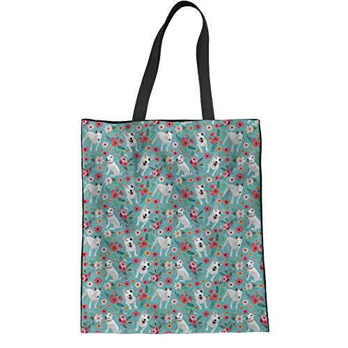 Print Terrier Bull Womens Cute Coloranimal Westie Tote Handbag Flower Flower Linen Bag Reusable qBwaA