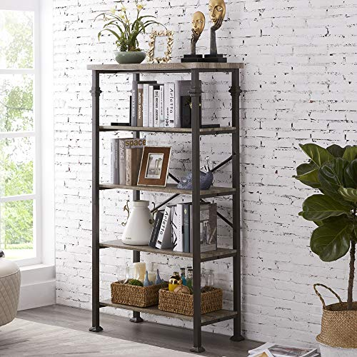 Hombazaar 5-Tier Modern Industrial Bookshelf with Sturdy Metal Frame, Large Book Shelves for Home and Office Organizer, 62.4''Height (Grey Metal Bookcase)