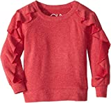 Chaser Kids Baby Girl's Extra Soft Love Knit Ruffled Sleeve Pullover Sweater (Toddler/Little Kids) Strawberry 5