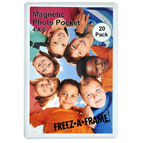 20 Pack 4x6 Magnetic Picture Frames for 4 X 6 Inch Photo Plastic Refrigerator Insert Holder Sleeve Pocket by Freez-a-frame Made in The USA (Plastic Magnets Refrigerator)