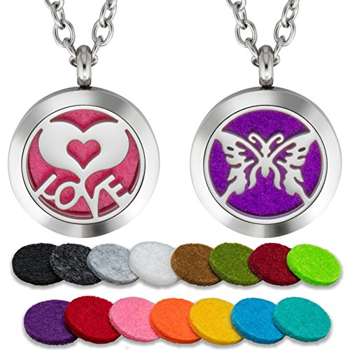2PCS Essential Oil Diffuser Necklace Set For Girls Or Young Women Aromatherapy 25mm Stainless Steel Locket Pendant with 24 Inch Adjustable Chain, 30 Washable Refill Felt Pads.