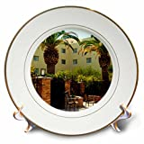 3dRose Jos Fauxtographee- Palms at Hotel - A hotel in Mesquite Nevada with palm trees and chairs - 8 inch Porcelain Plate (cp_273463_1)
