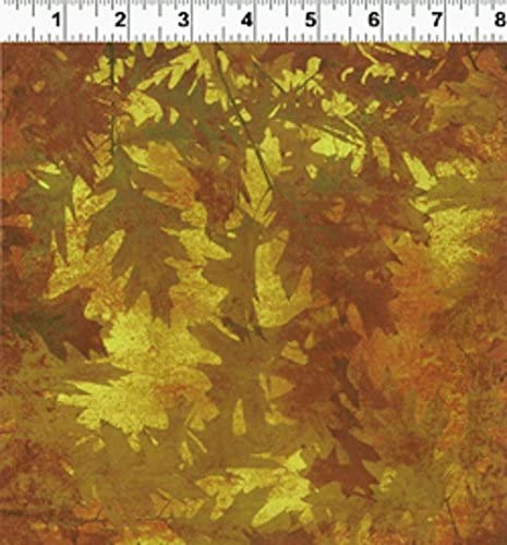 1 Yard Autumn Splendor by Barb Tortillotte from Clothworks Cotton Quilt Fabric Y1223-10 Yellow leaves