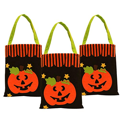 Kids Halloween Bags for Trick or Treat, Tote Halloween Candy Bags Bulk with Pumpkin Pattern, Pack of 3
